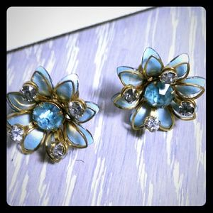VTG Blue Flower Gold Rhinestone Screw Back Earring